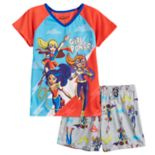 Girls 6-12 DC Comics Super Hero Girls Supergirl, Batgirl & Wonder Woman Top & Shorts Pajama Set