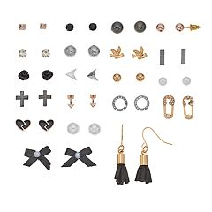 Mudd® Bird, Bow, Cross & Heart Nickel Free Earring Set