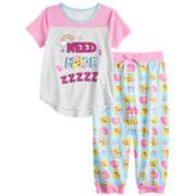 """Girls 4-10 Smiley Icon """"Need More ZZZZZ"""" Top & Bottoms Pajama Set"""