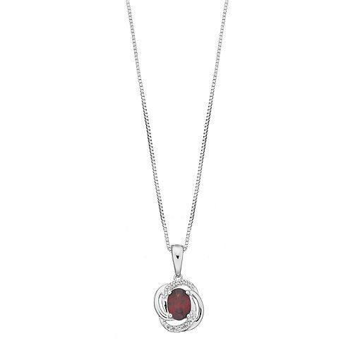 Sterling Silver Garnet & Diamond Accent Knot Pendant