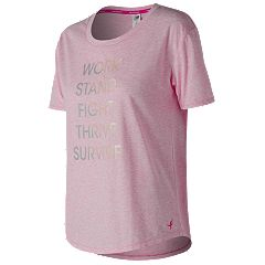 Women's New Balance Lace Up For The Cure Heather Tech Short Sleeve Graphic Tee