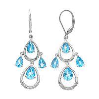 Sterling Silver Blue Topaz & Diamond Accent Teardrop Dangle Earrings