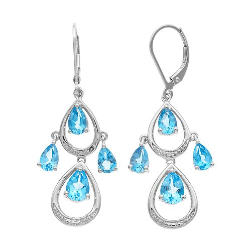 Sterling Silver Blue Topaz & Diamond Accent Teardrop Dangle Earrings