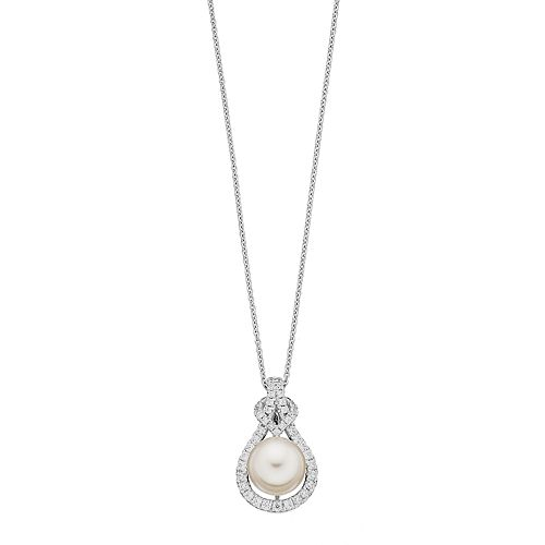 Sterling Silver Freshwater Cultured Pearl & Cubic Zirconia Teardrop Pendant