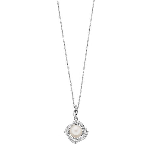 Sterling Silver Freshwater Cultured Pearl & Cubic Zirconia Pendant
