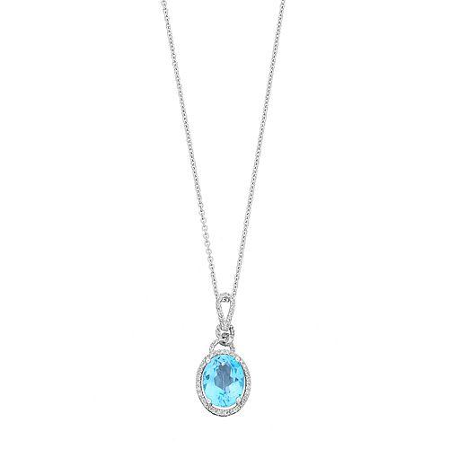 Sterling Silver Swiss Blue Topaz & 1/8 Carat T.W. Diamond Oval Pendant