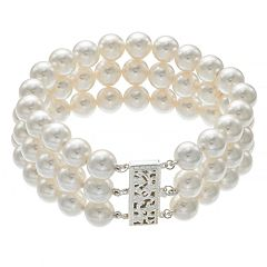 Sterling Silver Freshwater Cultured Pearl Triple Row Bracelet