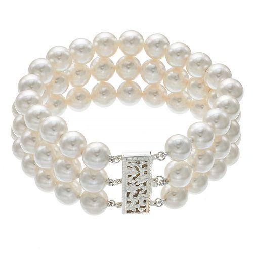 Sterling Silver Freshwater Cultured Pearl Triple Row Bracelet