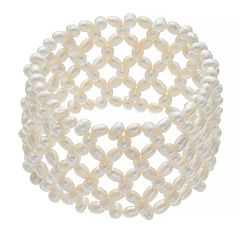 Freshwater Cultured Pearl Multi Row Woven Stretch Bracelet