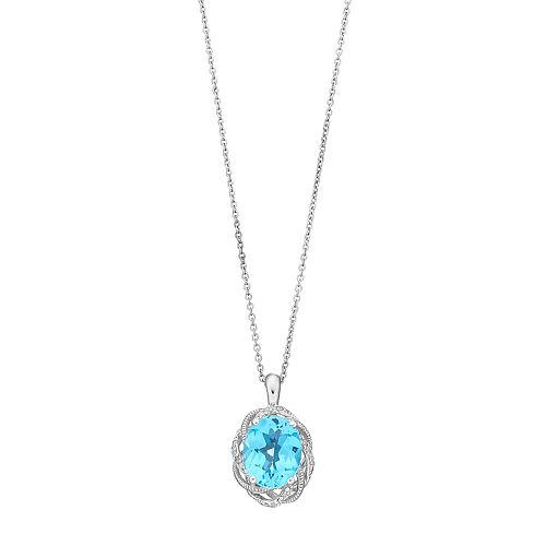 Sterling Silver Swiss Blue Topaz & Diamond Accent Oval Pendant