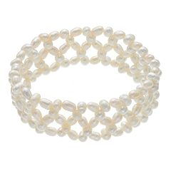 Freshwater Cultured Pearl Triple Row Woven Stretch Bracelet