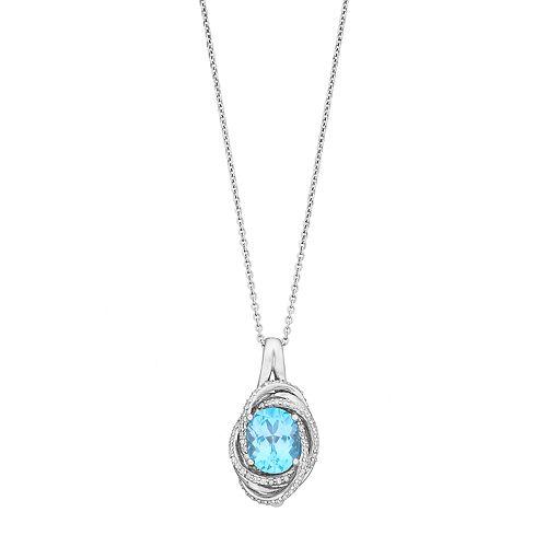 Sterling Silver Swiss Blue Topaz & 1/5 Carat T.W. Diamond Oval Pendant