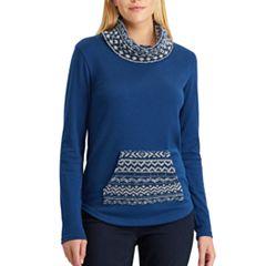 Petite Chaps Fairisle Pullover Sweatshirt