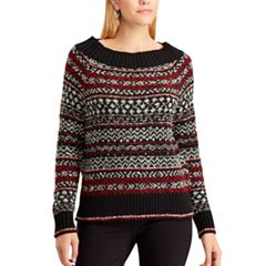 Petite Chaps Striped Scoopneck Sweater