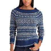Petite Chaps Striped Scoopneck Sweater