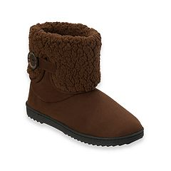 Women's Dearfoams Notched Sherpa Cuff Boot