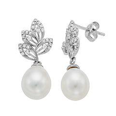 e3d8d1517 Sterling Silver Freshwater Cultured Pearl & Cubic Zirconia Leaf Drop  Earrings
