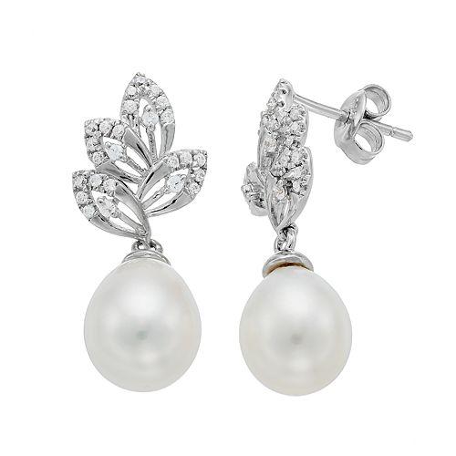 Sterling Silver Freshwater Cultured Pearl & Cubic Zirconia Leaf Drop Earrings
