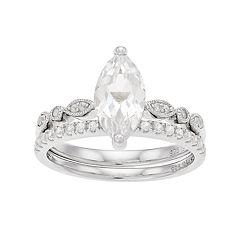 Sterling Silver Lab-Created White Sapphire Marquise Engagement Ring Set
