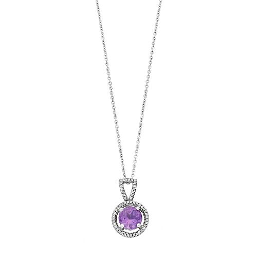 Sterling Silver Amethyst & 1/10 Carat T.W. Diamond Pendant