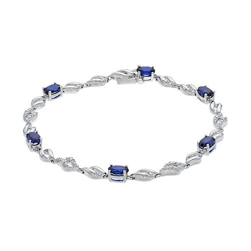 Sterling Silver Lab-Created Sapphire & Diamond Accent Twist Bracelet