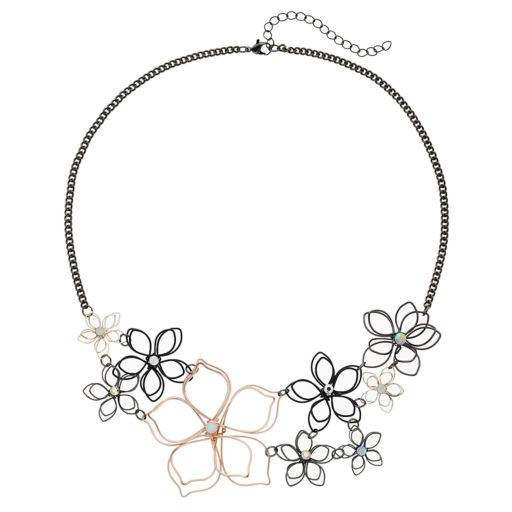 Mudd® Two Tone Wire Flower Statement Necklace
