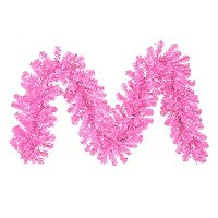 9-ft. Pre-Lit Hot Pink Artificial Christmas Garland