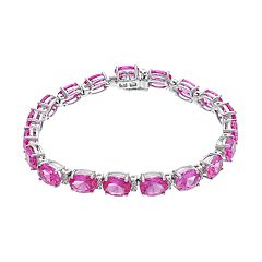 Sterling Silver Lab-Created Pink Sapphire & Diamond Accent Bracelet