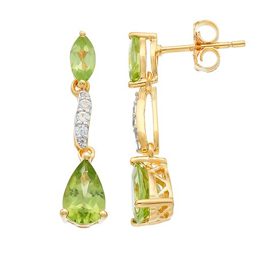14k Gold Over Silver Peridot & Lab-Created White Sapphire Geometric Linear Earrings