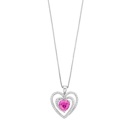 Sterling Silver Lab-Created Pink & White Sapphire Heart Pendant
