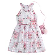 Girls 7-16 & Plus Size Knitworks Floral Burnout Glitter Belted Dress with Necklace & Purse