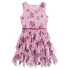 Girls 7-16 & Plus Size Knitworks Floral Lace Belted Corkscrew Dress with Flower Necklace