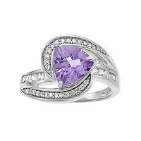 Sterling Silver Amethyst & Lab-Created White Sapphire Bypass Ring