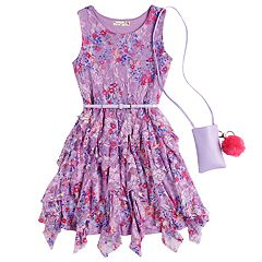 Girls 7-16 & Plus Size Knitworks Lace Corkscrew Belted Dress with Purse