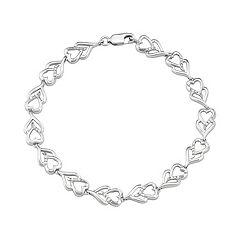 Sterling Silver 1/10 Carat T.W. Diamond Heart Link Bracelet