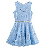 Girls 7-16 & Plus Size Knitworks Blue Lace Belted Dress with Necklace