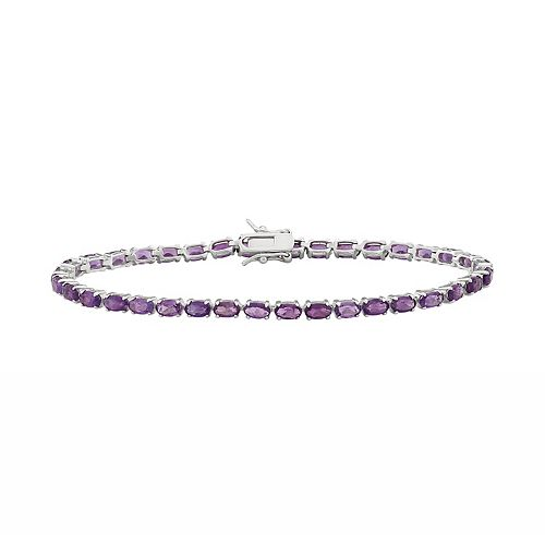 Sterling Silver Amethyst Tennis Bracelet