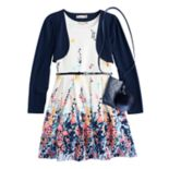 Girls 7-16 & Plus Size Knitworks Shrug & Floral Textured Skater Dress Set with Purse