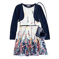 Girls 7-16 & Plus Size Knitworks Shrug & Floral Textured Skater Dress Set with Purse