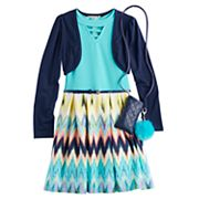 Girls 7-16 & Plus Size Knitworks Shrug & Chevron Textured Skater Dress Set with Purse