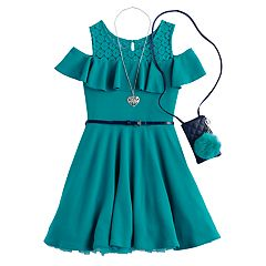 Girls 7-16 & Plus Size Knitworks Cold-Shoulder Textured Skater Dress with Necklace & Purse
