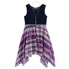 Girls 7-16 & Plus Size Knitworks Crochet Sharkbite Hem Dress with Necklace
