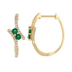 Gold Tone Sterling Silver Simulated Emerald & Lab-Created White Sapphire Oval Hoop Earrings