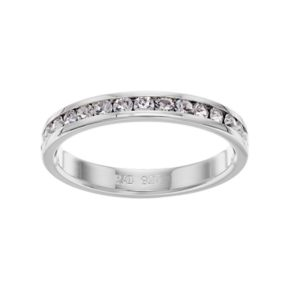 Traditions Sterling Silver Crystal Birthstone Eternity Ring
