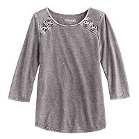 Girls 7-16 Mudd® 3/4-Sleeve Lace Shoulder Raglan Tunic