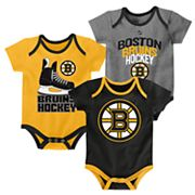 Baby Boston Bruins 3-Pack Hat Trick Bodysuit Set