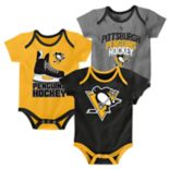 Baby Pittsburgh Penguins 3-Pack Hat Trick Bodysuit Set
