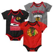 Baby Chicago Blackhawks 3-Pack Hat Trick Bodysuit Set
