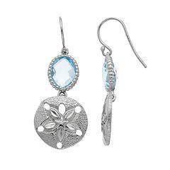 Sterling Silver Blue Topaz Sand Dollar Drop Earrings