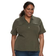 Plus Size Croft & Barrow® 2-Pocket Henley Polo